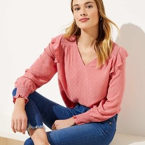 NWT Loft Coral Pink Ruffle Blouse